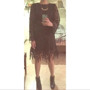 Anna Sui x INC black lace dress
